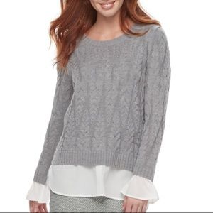 ELLE Layered Cable Knit Gray Sweater